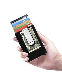 RFID Mini Wallet Aluminum Clip Automatic Pop Up Wallet Imitation Carbon Fibre (Black)