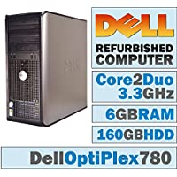 Dell Optiplex Minitower Computer 3.3 GHz Core 2 Duo PC, 6GB, 160GB HDD, Windows 10 Home 64 bits (Certified Refurbished)