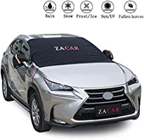 Windshield Snow Cover , ZACAR Windshield Cover with Mirror Covers for All Seasons , Blocking the heat of the sun, blocking snow, fallen leaves, bird excrement . Elastic Hooks Design Will Not Scratch Paint , Fits Most Cars SUVs Trucks , Easy to Install