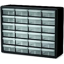 Akro-Mils 10124 24 Drawer Plastic Parts Storage Hardware and Craft Cabinet, 20-Inch x 16-Inch x 6.5-Inch, Black (Renewed)