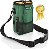 Smart Dog Treat Pouch Bag for Dog Training - Easy Access to Treats & Training Accessories includes Free Roll of Waste Bags- Earth Green