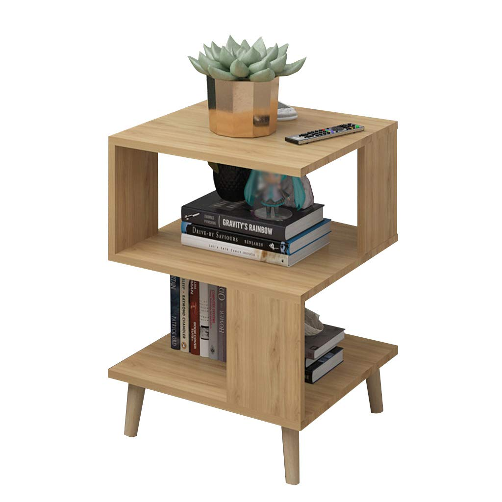 Wood color C-Bin1 Bedroom Leisure Table, Creative Square Sofa Side Living Room Tea Table Multifunction Sofa Side Household Cafe Decoration Table Comfort (color   Wood color)