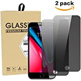 iphone 7 Plus/8 Plus Privacy Screen Protector, Zenzus Anti-Spy/Scratch/Fingerprint Bubble Free Tempered Glass Film, 2-Pack