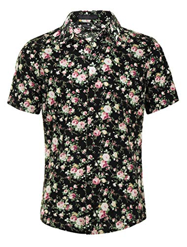uxcell Men's Summer Floral Printed Short Sleeves Shirt Button Down Beach Hawaiian Shirt Black 46