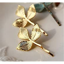 P.phoebus Gold Leaf Hollow Geometric Metal Hairpin Hair Clip Clamps Accessories Women's GIFT Headwear Headdress Styling Jewelry (3 leaf)