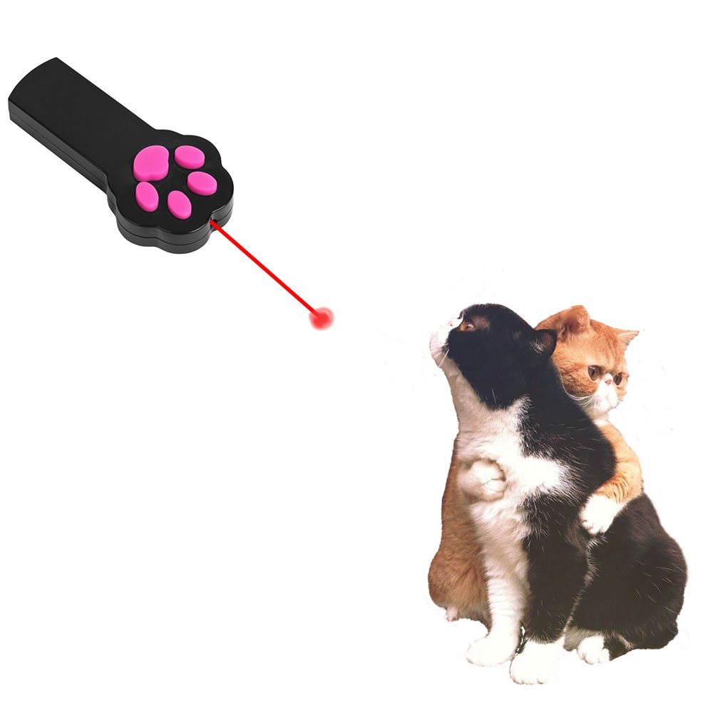 Paw Style Interactive LED Light Laser Pointer Cat Toys and The Pink Silicone Button Black by Mimibox