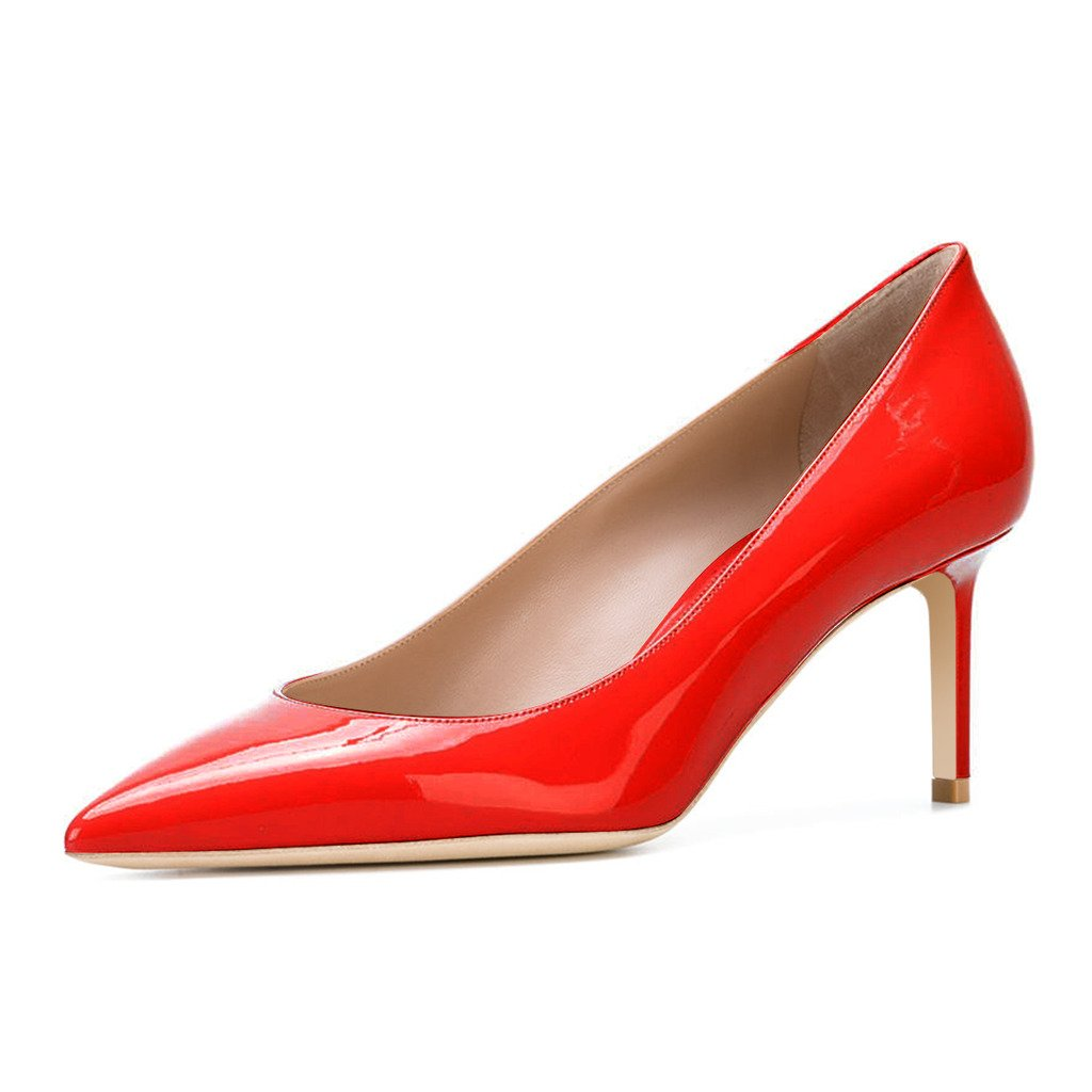 XYD Womens Elegant Patent High Heel Pumps Pointed Toe Slip On Evening Party Dress Shoes B073ZXZD1Q 9 B(M) US|Red