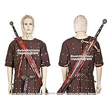 Brown Genuine Leather Baldric for Medieval Long Sword Claymore Belt Frog Hanger