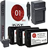 DOT-01 3x Brand Sony Alpha A5000 Batteries and Charger for Sony Alpha A5000 DSLR and Sony A5000 Battery and Charger Bundle for Sony FW50 NP-FW50