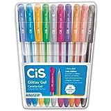 Caneta Gel, CIS, Glitter 52.0200, Multicor, pacote de 10