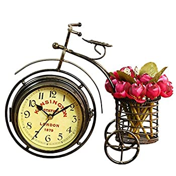 NEOTEND Handmade Vintage Bicycle Clock Bike Mute Two Sided Table Clock
