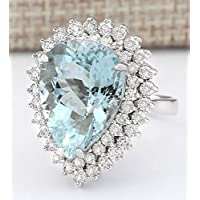 Women Fashion Aquamarine Gemstone 925 Sterling Silver Wedding Ring Jewelry New by pho (9)