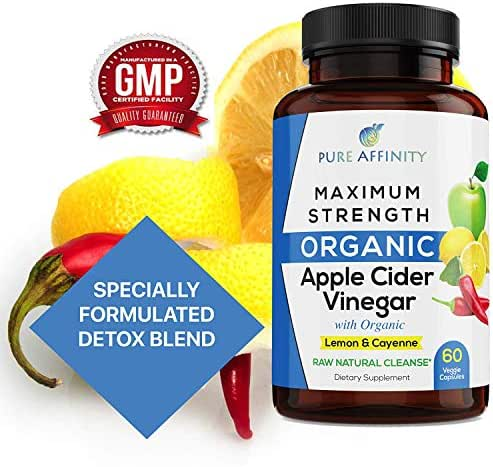 Organic Apple Cider Vinegar Pills, Capsules with Lemon and Cayenne. Raw Unfiltered Mother Powder Tablets Supplements. Helps Detox and Cleanse with 600mg ACV per Capsule 60 Count Bottle