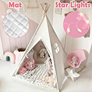 Kids Teepee Tent with Mat & Light String& Carry Case- Kids Foldable Play Tent for Indoor Outdoor, Raw