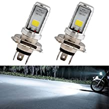 EverBrightt 2-Pack 900 Lumens White H4 COB 12W Led Bulb For Motorcycle Headlights Electric Cars Head Lamp High Low Beam