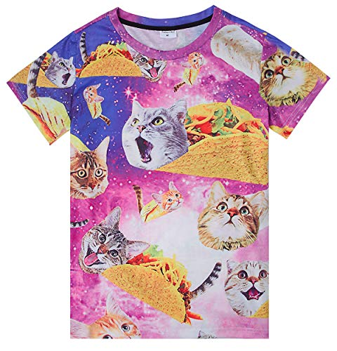 Boys Girls 3D Printed T-Shirts Cat Pizza Galaxy Cat Light Weight Bteathable Graphic Tee for Sports Beach Wear 6Y 7Y 8Y(Pizza cat,Small)