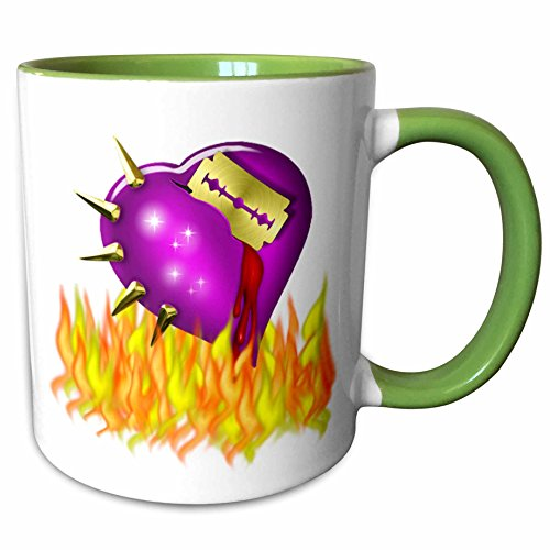 3dRose Anne Marie Baugh - Halloween - Scary Halloween Burning Heart With Razor Blade - 15oz Two-Tone Green Mug -