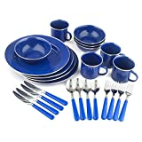 Stansport Enamel Camping Tableware Set, 24-Piece, Blue (Sports)