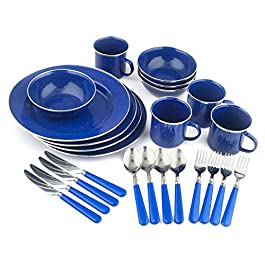 STANSPORT – Deluxe 24-Piece Enamel Tableware Set: Plates, Bowls, Mugs & Utensils