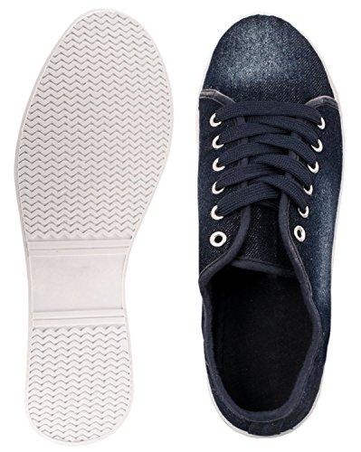 Sportlich Low Foncé Sneakers Turnschuhe Elara Basic Bequeme Schnürer Bleu Ew7Ug6qag