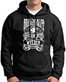 Never Underestimate Awesome Welder, Welding Premium Hoodie Sweatshirt XX-Large Black