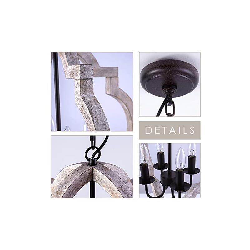 VILUXY Farmhouse Wood Chandelier Geometric Lantern Pendant Light 4-Light for Indoor Kitchen Island Dining Living Room…