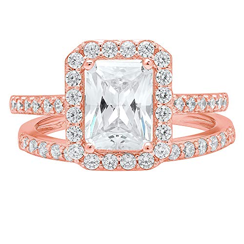 (2.14ct Emerald Round Cut Pave Halo Solitaire with Accent VVS1 Ideal D Moissanite & Simulated Diamond Engagement Promise Designer Anniversary Wedding Bridal ring band set 14k Rose Gold Sz 7)