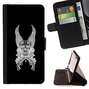 Momo Phone Case / Flip Funda de Cuero Case Cover - Alas del ángel de la muerte armas Revolver Negro - Samsung Galaxy S6 EDGE