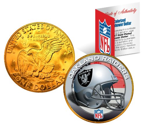OAKLAND RAIDERS NFL 24K Gold Plated IKE Dollar U.S. Coin * OFFICIALLY LICENSED *