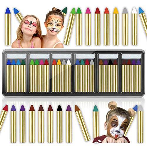 Face Painting Kits for Kids, HOLOMY 24 Colors Safe & Non-Toxic Face Paint Crayons, Face & Body Washable Paint Sticks Makeup Set for Toddlers,Kids,Adults,Great for Parties, Halloween Festivals & Events -