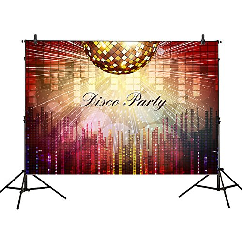 Mehofoto Shining Disco Photography Backdrop7x5ft Colorful Neon Lights Background for Dancing Party 70s Night Club DJ Photo Booth Backdrop Birthday Party Decoration Banner]()
