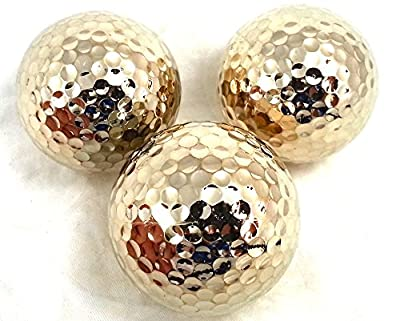 TROPHYGOLF 3 Shiny Golf Balls, Gold