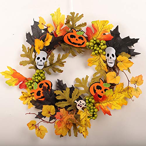 BOLUOYI Outdoor Lighting Products,Christmas Lights Colored,35cm Rattan Berry Maple Leaf Fall Door Wreath Door Wall Ornament Halloween by BOLUOYI