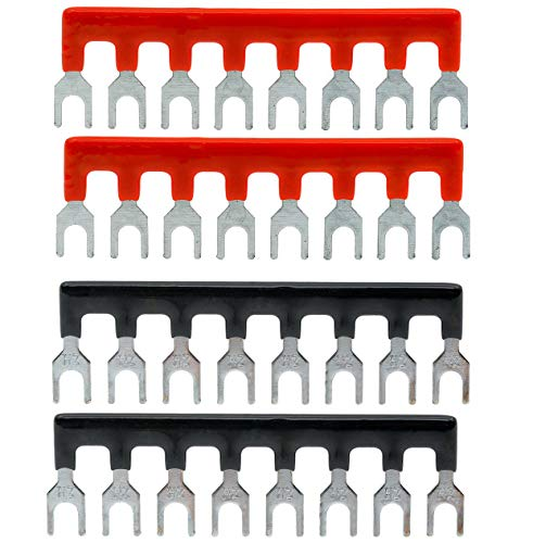 Fork Type (YXQ 400V 25A 8 Postions Fork Type Terminal Stripe Terminal Barrier Strips TB2508 Block with Pre Insulated (2+2) Red/Black 4 Pcs)