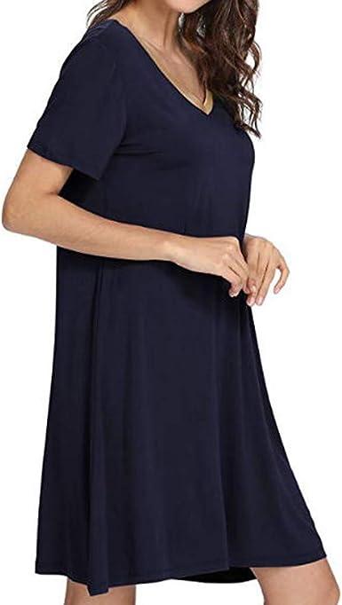 Culater Vestido Camisa De Manga Corta para Dormir En Pijama Pijama Suelto Suave con Vestido De Encaje: Amazon.es: Ropa y accesorios