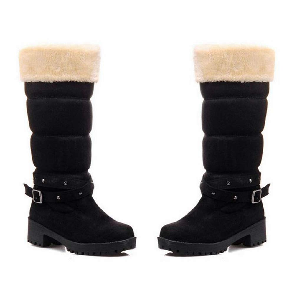 Hoxekle Women Half Short Boots Square Heels Winter Thicken Fur Warm Mid Calf Boot Boots Feminina Gladiator Shoes