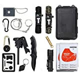 LiNKFOR 15 pcs Emergency Survival Kit Outdoor Survival Gear Tool for Camping, Hiking, Climbing