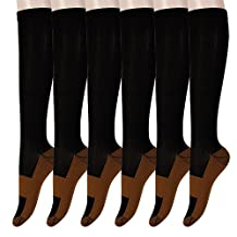 Graduated Copper Compression Socks 6 Pairs Anti Fatigue Socks 15-20 mmHg
