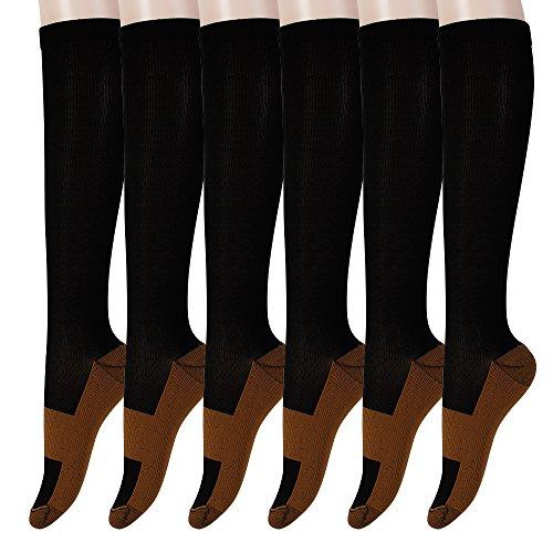 Graduated Copper Compression Socks 6 Pairs Anti Fatigue Knee High Socks For Men Women Pain Ache Relief Stockings-15-20 mmHg (L/XL, Black)