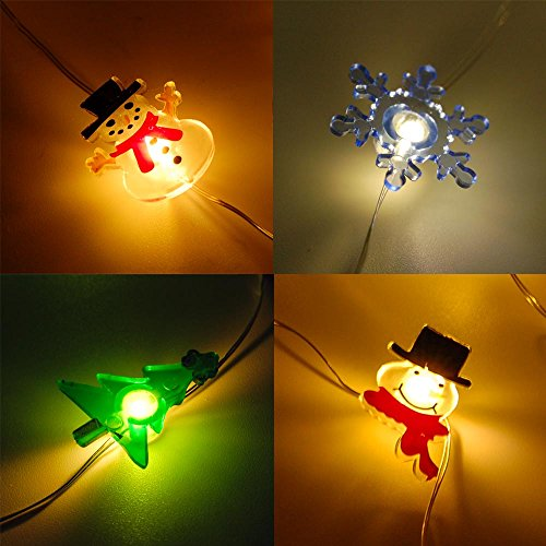 6.5 Ft 20L Mini LED X'Mas (Christmas) String Light Assorted (6-Pack) Battery Powered - 3 Different Snowman, Christmas Tree, Snowflake, Candy Cane (Snow 20l)