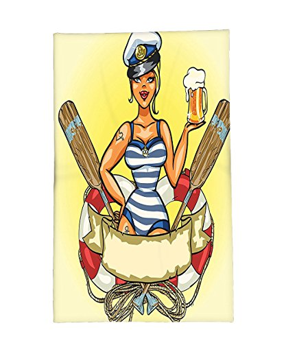 Interestlee Fleece Throw Blanket Girly Decor Pin-Up Sexy Sailor Girl in Lifebuoy with Captain Hat and Costume Glass of Beer Feminine Design Multi - Beer Hop Costume
