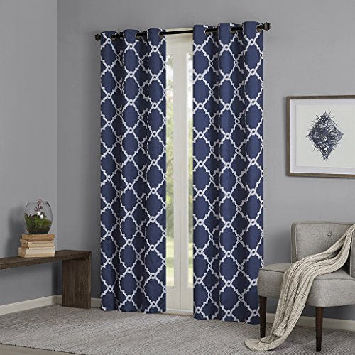 Indigo Curtains for Living Room, Modern Contemporary Room Darkening Curtains for Bedroom, Geometric Merritt Silver Grommet Window Curtains, 42x84, 2-Panel Pack