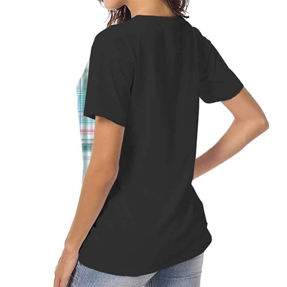 Raglan Short Sleeve Shirts,Checkered,Little Square Frames Dots S-XXL Summer Womens Short Sleeve T-Shirt
