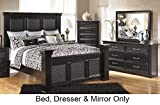 Ashley Cavallino Queen Bedroom Set with Mansion Bed Dresser and Mirror in Deep