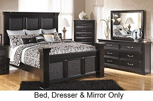 Ashley Cavallino Queen Bedroom Set with Mansion Bed Dresser and Mirror in Deep by Ashley