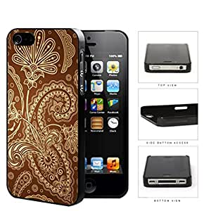 Cute Tan Floral & Swirls Pattern on Brown Background iPhone 4 4s Hard Snap on Plastic Cell Phone Case Cover
