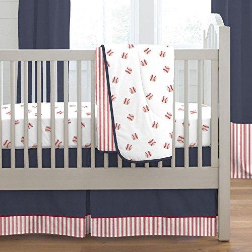 Carousel Designs Red and Navy Baseball 3-Piece Crib Bedding Set