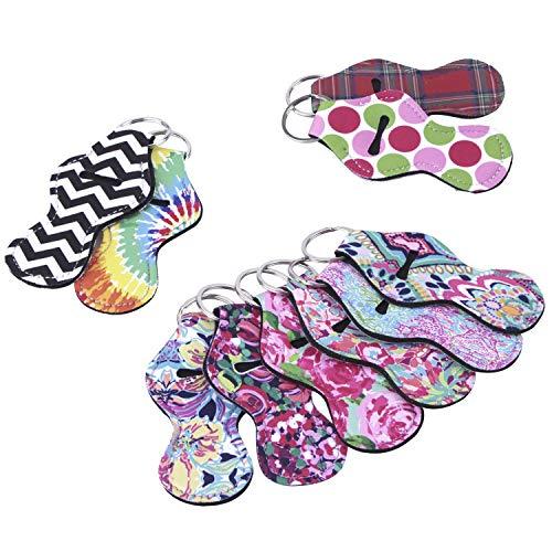 - 10 Pieces Neoprene Chapstick Holder Keychain Lipstick Holder Keychains Chapstick Key Chain Holder, 10 Different Vibrant Prints Lip Blam Keychain