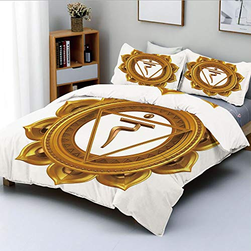 Duplex Print Duvet Cover Set Twin Size,Chakra Symbol in Flower Rounded Original Design Spiritual Power Life Force ImageDecorative 3 Piece Bedding Set with 2 Pillow Sham,Gold,Best Gift For Kids & Adult