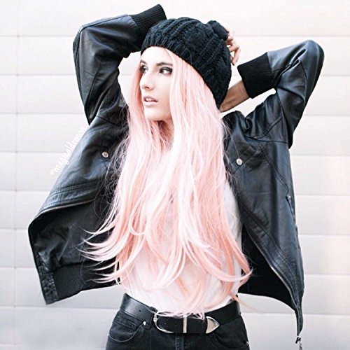 Heahair Fashion Affortable New Style Pink Color Handtied Synthetic Lace front Wig for Cosplay(Pale pink) by Heahair (Image #4)